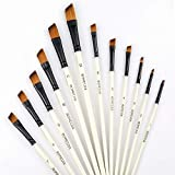 Angular Paint Brushes Nylon Hair Angled Watercolor Pait Brush Set for Acrylics Watercolors Gouache Inks Oil and Tempera(12pcs Pearl White Angled Paintbrush Set)