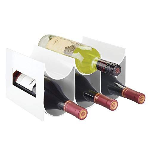 mDesign praktisches Wein- und Flaschenregal – Weinregal Kunststoff für bis zu 6 Flaschen – freistehendes Regal für Weinflaschen oder andere Getränke – weiß