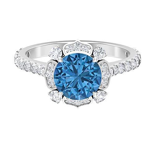 Anillo solitario floral, anillo de 8 mm creado en laboratorio de zafiro azul ártico, D-VSSI Moissanite Cluster Anillo, Piedra Lateral Anillo de compromiso, 14K Oro blanco, Size:EU 46