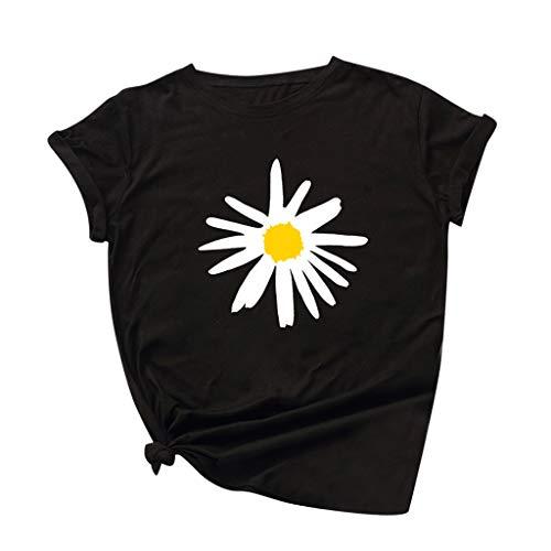 Auifor Damen Gänseblümchen Tops Sommer, Kurzarm-Baumwolle Shirt Casual Tunika Bluse