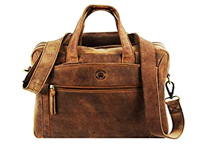 Frédéric Johns Sacoche homme cuir vintage - sacoche homme cuir véritable - porte document 2 soufflets - sac vintage - Sacoche haut de gamme (Marron 1)