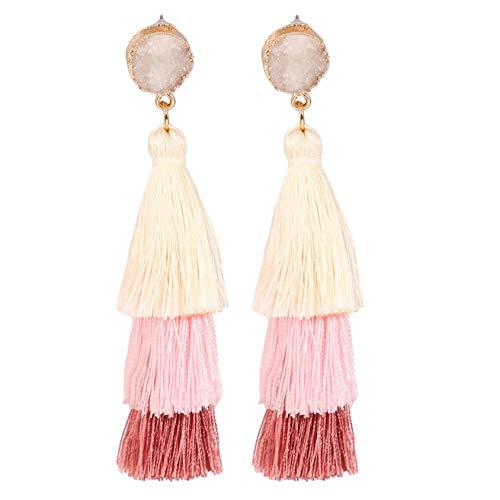 GUYAQ Girls Tassel Dangle Earrings Tassel Long Dangle Drop Earrings Women Jewelry Stud Earrings Vintage Jewellery Gifts Ethnic Style Earrings,Rice noodle stitching