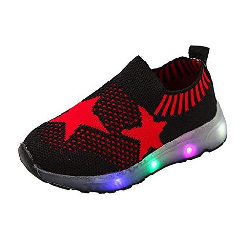 WEXCV Unisex Baby Jungen Mädchen Pentagramm Strumpfwaren Leuchtende Schuhe für Kinder Leucht Weben Mesh Freizeitschuhe Krabbelschuhe Outdoor Licht Sneaker 22.5-33