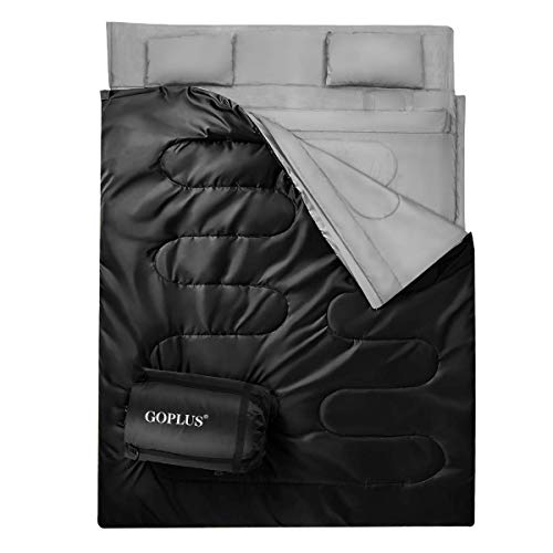 Goplus Double Sleeping Bag Waterproof Portable 2 Person Sleeping Bags with 2 Pillows & Carrying Bag, Queen Size XL 3-4 Season for Adults Teens Camping Traveling Hiking Outdoor Activities (Black)