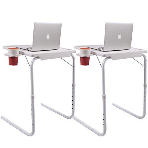 2x Smart Folding Adjustable Tray Foldable Desk W/Cup Holder