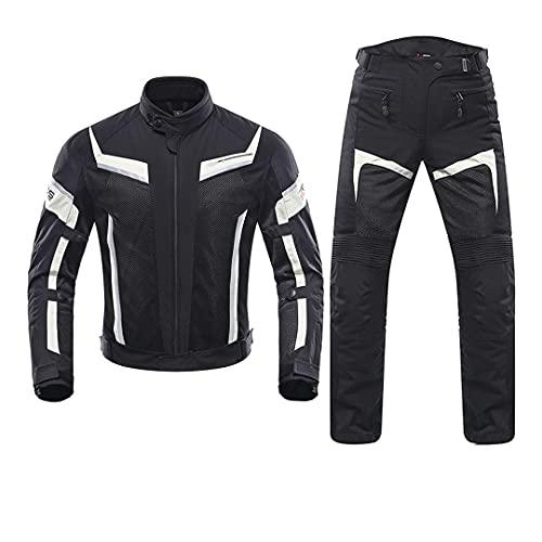 Pantalones de Moto de Verano para Hombre Chaqueta de Ciclismo de Carreras de Motos Transpirable