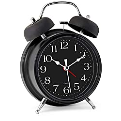 Bernhard Products Analog Alarm Clock 4 Twin Bell Black Silent Non-Ticking Quartz Battery Operated Extra Loud with Backlight for Bedside Desk, Retro (Classic Black)