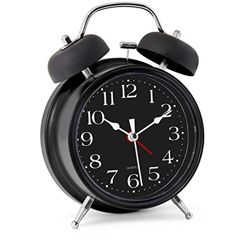 Bernhard Products Analog Alarm Clock 4' Twin Bell Black Silent Non-Ticking Quartz Battery Operated Extra Loud with Backlight for Bedside Desk, Retro (Classic Black)