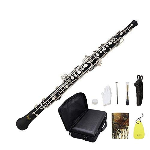 Oboe C Cupronickel Llave Profesional Oboe C Bañado en Plata Silbato para Principiantes con el Bolsa Correa Reed Guantes Funda de Piel Gamuza de Limpieza Lubricante Destornillador de ammoon