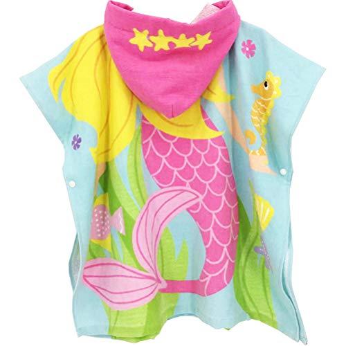 TOPBATHY Zeemeermin Capuchon Badjas Katoen Badhanddoek voor Kinderen Maat 60cm L Meerkleurig