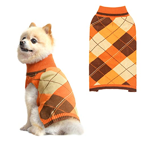 Dog Sweater Pet Knitted Clothes - Classic Plaid Pull Over Turtleneck Dog Sweaters with Leash Hole Warm Dogs Winter Clothing for Small Medium Dogs Cats Puppy