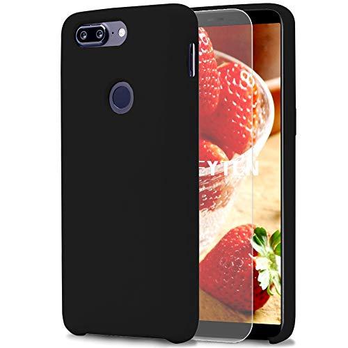Feyten Funda OnePlus 5T [Cristal Vidrio Templado], Slim Líquido de Silicona Gel Carcasa Anti-Rasguño Protectora Caso para OnePlus 5T (Negro)