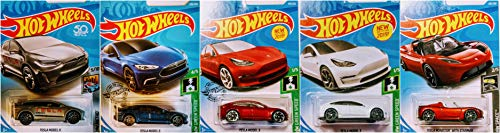 Hot Wheels Tesla 5 Car Bundle Set Includes Tesla Model X Tesla Model 3 Tesla Model S Tesla Roadster