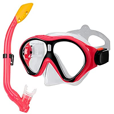 Gintenco Kids Snorkel Set, Dry Top Snorkel Mask Anti-Leak for Youth Junior Child, Anti-Fog Snorkeling Gear Free Breathing,Tempered Glass Swimming Diving Scuba Goggles 180° Panoramic View(Pink)