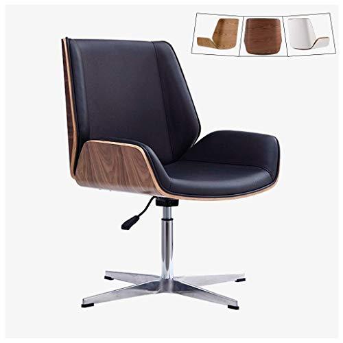 Moderna silla de escritorio de oficina con tapicería de cuero, silla giratoria sin brazos de altura ajustable, sillas ejecutivas de respaldo medio, patas de acero inoxidable, aspecto de nogal negro