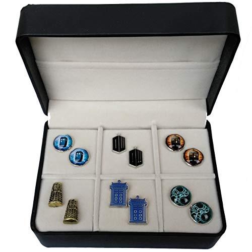 Geek & Glitter Doctor Who Cufflink Set - 6 Pairs Box - Tardis, Daleks, Gallifreyan and More (Tardis Set)