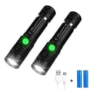 Yizhet Linterna LED, 2 piezas Linterna LED Recargable de 1000 lúmenes, 3 Modo de luz Impermeable Zoom Ajustable Linterna Tactica Súper Brillante Portátil LED Linterna Incluida 18650 Pilas y Cable USB