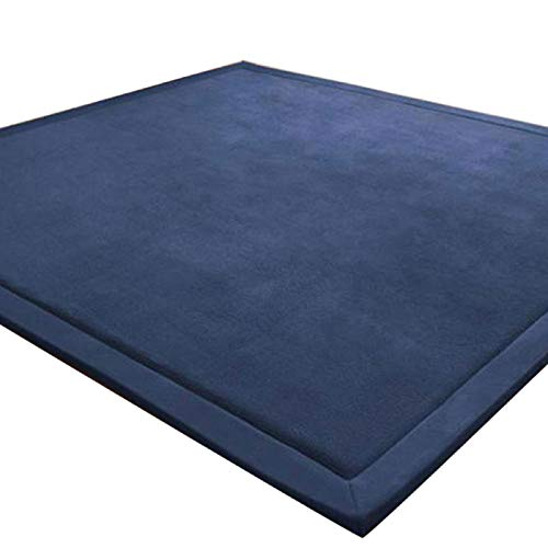 LEHOUR Coral Velvet Tatami Rugs Baby Safe Hairless Carpets Kids Playing Mats Non-slip Large Size Nursery Rugs for Living Room, Baby' s Bedroom (Dark Blue, 150 * 200CM)