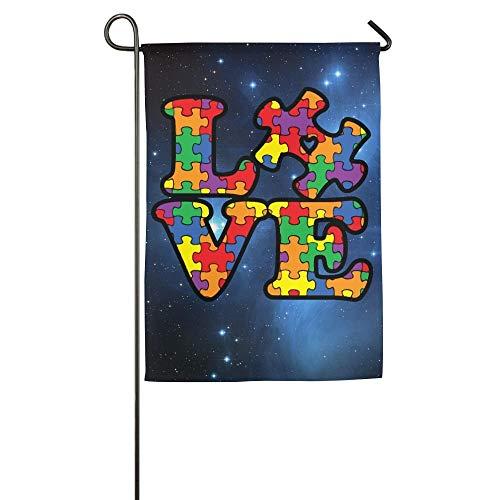 Cutadornsly Garden Flag, Autism Awareness Puzzle Piece Decorative Yard Flag for Sports Events Home Outdoor Garden Decor