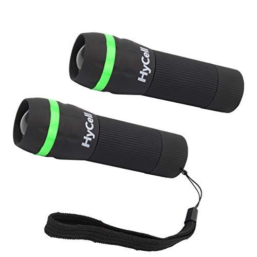 HyCell Mini LED Taschenlampe Zoombar und Fokussierbar inkl. AAA Batterien - Handliche LED Leuchte mit stufenloser Fokussierung - Handlampe ideal für Camping Werkstatt Handtasche Garten Kinder Outdoor