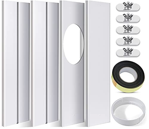 SIKADEER Universal Window Seal Kit for Portable Air Conditioner of Exhaust Hose 5.9 Inch Diameter with Coupler Adjustable AC Vent Kit PVC Seal for Sliding Window
