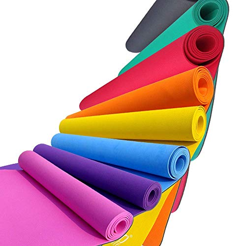 Effingo Yoga and Exercise mat of 4mm Multicolour Yoga Mat with Yoga Mat Carry Strap 100% Eco Friendly (Multicolour)
