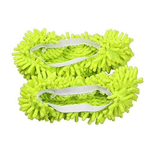 Clispeed 1 Paar Mop Schuhüberzug Staubraumreinigung Hausschuhe Haushälterin Mop Caps für Bad Büro Küche Polieren (Grün)
