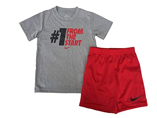 Nike Toddler Boys #1 from The Start T Shirt and Mesh Athletic Shorts, Red, 2T