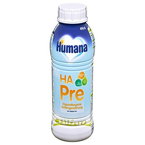 Humana HA PRE, hypoallergene Anfangsmilch für Babys mit erhöhtem Allergie-Risiko, trinkfertige Babymilch im praktischen Fläschchen, von Geburt an, 1er Pack (1 x 490 ml)