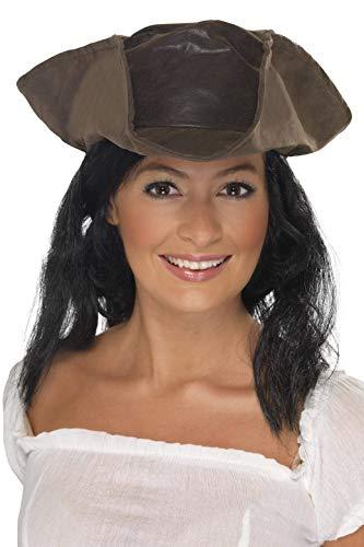 SmiffyS 25530 Sombrero De Pirata Con Aspecto De Cuero, Marrón, Tamaño Único
