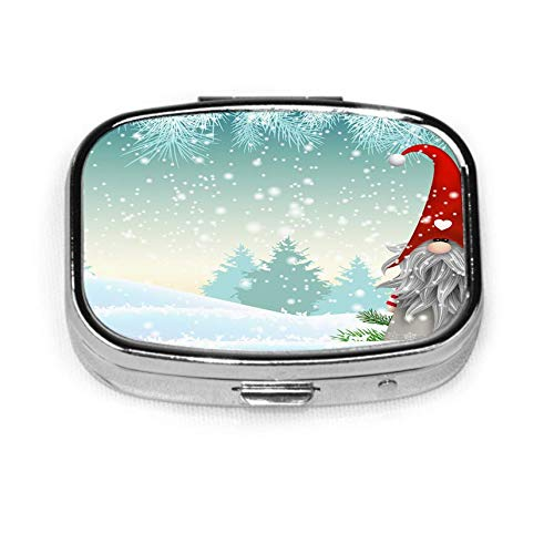 Traditional Scandinavian Christmas Gnome Named Tomte Standing in Winter Landscape Christmas Motive Pill Box Personalized Decorative Box Tablet Holder for Pocket