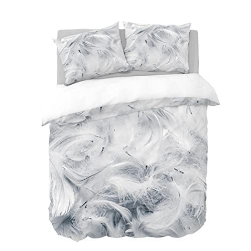 Y-NOT Funda de edredón con Fundas de Almohada, 135 x 220 cm, diseño de Plumas Blancas