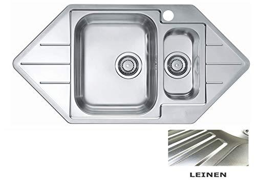 VBChome: Eck-Einbauspüle Leinen mit Hanhloch 985 x 500 mm 1,5 Becken Camping Küchenspüle - Alveus Line 40 Spülbecken EDELSTAHL Küchenspüle Eckspüle Ablaufgarnitur