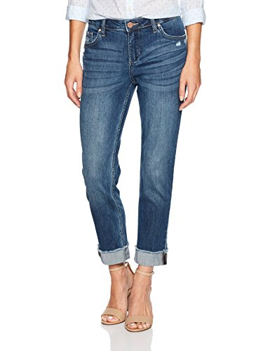 Riders by Lee Indigo Women's Fringe Cuff Boyfriend Jean, mid Shade, 16