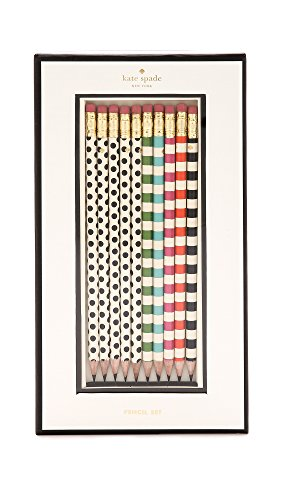 Kate Spade New York Women's Dot the Is Pencil Set, White Multi, One Size