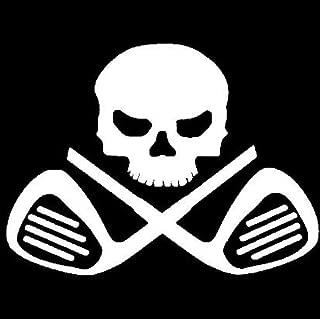 高尔夫球杆骷髅和交叉骨乙烯基贴纸:汽车卡车 Vans Walls 笔记本电脑- 白色- 5.5 英寸KCD559