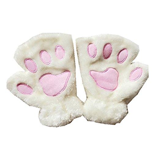 MizHome Cat Bear Plush Claw Paw Mitten Soft Winter Gloves Costume White