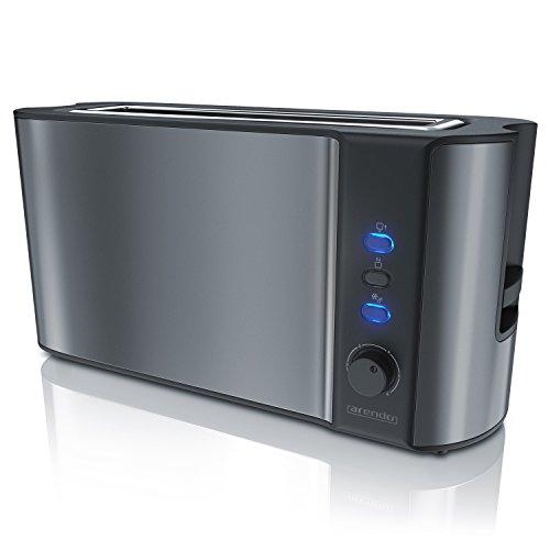 Arendo - Automatik Toaster Langschlitz - Defrost Funktion - Wärmeisolierendes Doppelwandgehäuse - integrierter Brötchenaufsatz - herausziehbare Krümelschublade - in Cool Grey