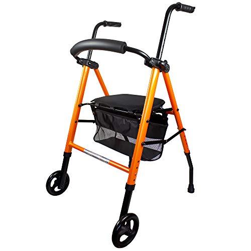 Mobiclinic, Modelo Nerón, Andador con 2 ruedas para ancianos, Marca Española, Andador plegable para personas mayores o adultos, de Aluminio, Ligero, con Asiento, Cesta y 2 ruedas, Color Naranja