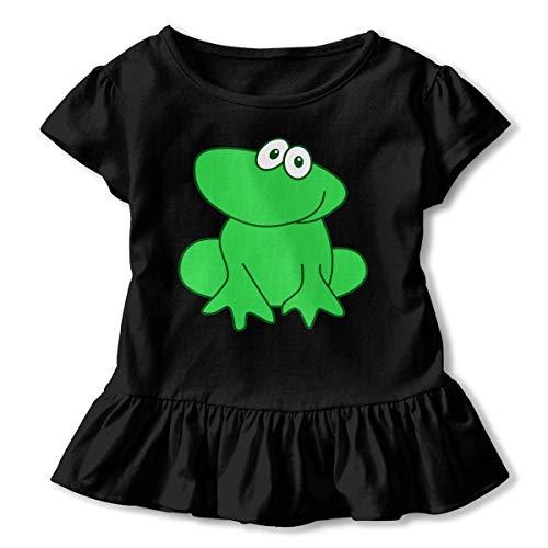 Girls Short Sleeve Cute Green Frog Ruffled Tunic Shirt Dress with Flounces