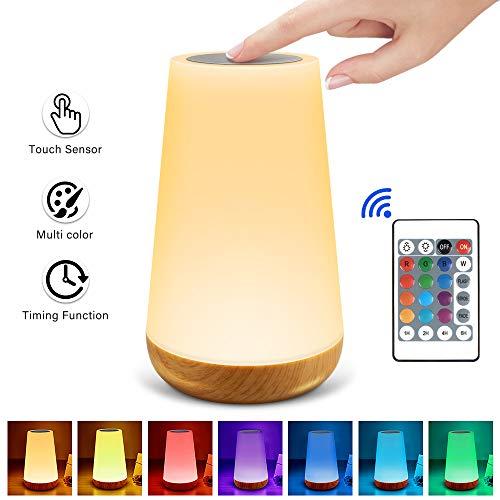 solawill Nachttischlampe, LED Nachtlicht Touch Dimmbar mit Fernbedienung,Nachtlicht Kind mit RGB13 Farbwechsel Tragbare USB Nachttischlampe für Kinderzimmer Schlafzimmer Wohnräum Geschenk Deko