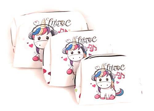Neceser Mujer, Neceser Maquillaje, Organizador Maquillaje, Set 3 Neceser Unicornio Mujer, Bolsa Organizador de…