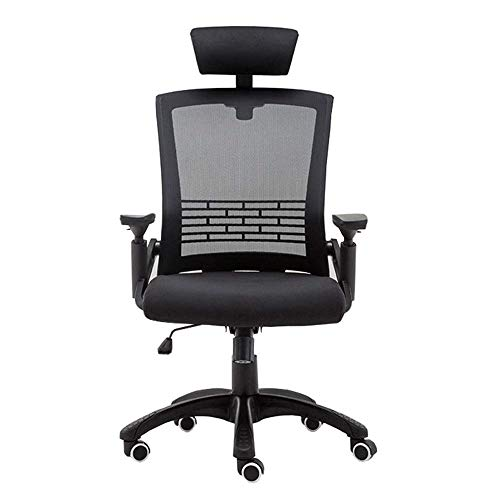 WYYY bureaustoel opvouwbare rugleuning 5cm tillen leuning verstelbare armleuning ademend mesh lagergewicht 150kg Zwart