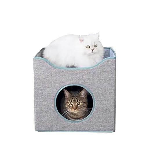 MIGHTYDUTY Faltbare Katzen-Wohnung, 2-lagig, Katzenhöhle, mit 2 gemütlichen Wendekissen für kleine und mittelgroße Katzen, Grau
