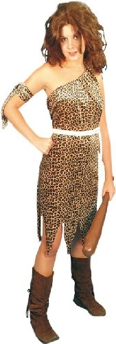 Smiffys Damen Höhlenfrau Kostüm, Kleid, Haarband und Gürtel, Größe: L, 22452