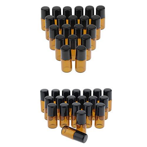 Sharplace 40 Pièces Mini Bouteille D'huile Essentielle Vide Rechargeable Parfum Parfum Parfum Bouteille En Acier à Bille Roulante - Vide/Rechargeable