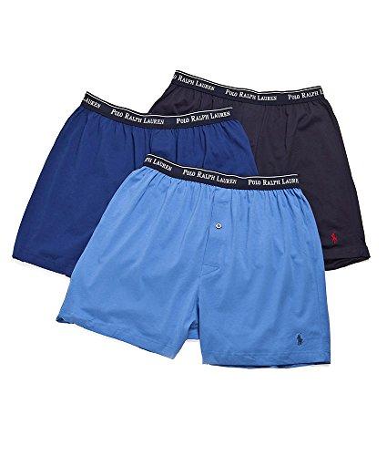 Polo Ralph Lauren Knit Boxer Shorts with Moisture Wicking 100% Cotton - 3 Pack (2XL, Blue Asst)