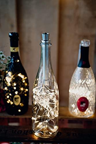 Hellum 522987 - Luz para botellas con temporizador, luz blanca cálida, juego de 20/30/40 LED, funciona con pilas, cadena de luces LED para botellas, decoración de mesa, Navidad