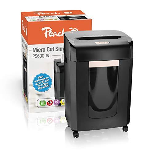 Peach PS600-85 Mikroschnitt Aktenvernichter | 12 Blatt | 23 Liter/420 DIN A4 | 2 x 15 mm Partikelgröße (P-5) | DIN A4 ca. 2100 Partikel | Dauerbetrieb 30min/über 1500 Blatt | ideal für neue DSGVO
