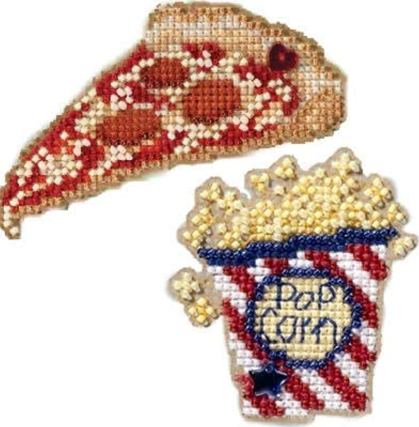 2 Kit Bundle, Counted Glass Beads : Pizza and Popcorn